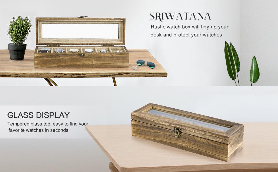 Holz Uhrenbox Uhrenkoffer 6 Uhren Uhr Anzeigen Halter Jahrgang Uhrenkasten Case