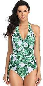 tankini swimwear women Hawaii floral print ruffle trim v-neck sling monokini  backless tummy control