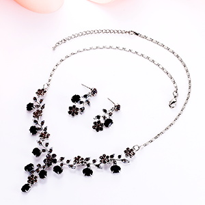 black prom jewelry set