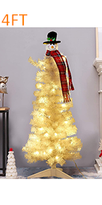 White Salem Pencil Pine Christmas Tree with Snowman Topper