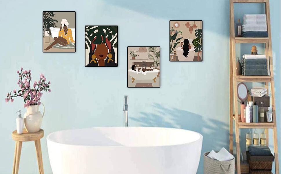 Modern Minimalist Fashion Black Woman Leaf Wall Art Painting decoration