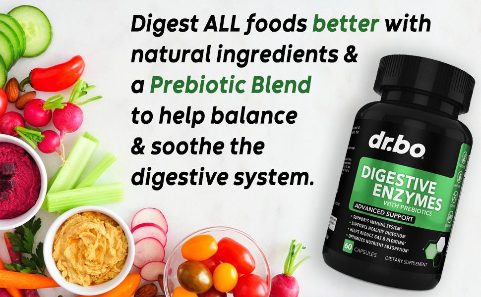 gluten digestive enzyme supplements bloating amalase lipase bromelain prebiotic help stomach food