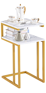 Premium Sofa Side Table End Table Double-Layer Tabletop, Suitable Livingroom Bedroom