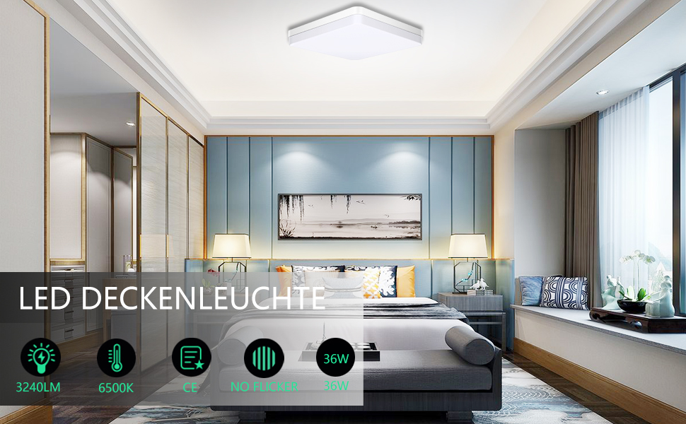 Wohnzimmer Schlafzimmer Flur und Mehr Hosome 36W LED Deckenlampe 3040LM LED Deckenleuchte 6000K k/ühles wei/ßes Licht f/ür K/üche