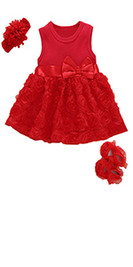 Baby Girls Clothes Dress Headband Shoes 3 Pcs Set Outfit