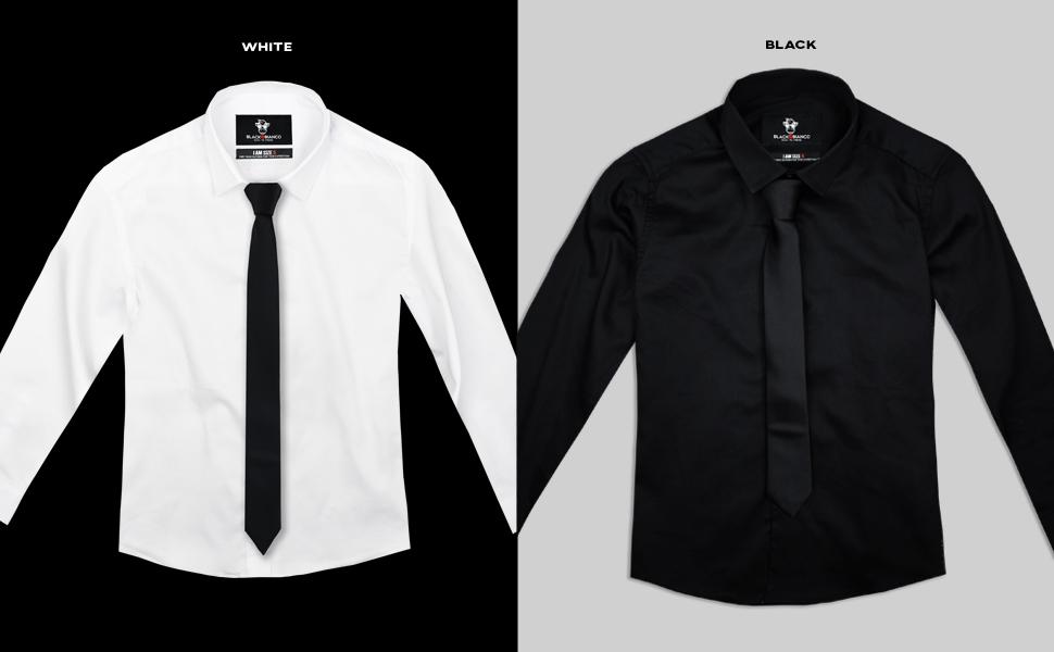 Black n Bianco Boys' Elite Button Down Long Sleeve Dress Shirt with Tie