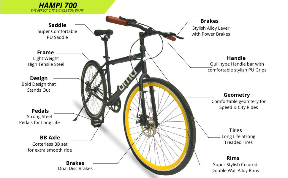 OMO bikes Hampi feature , hampi specification, seat, handle bar, tyre size, design, frame size