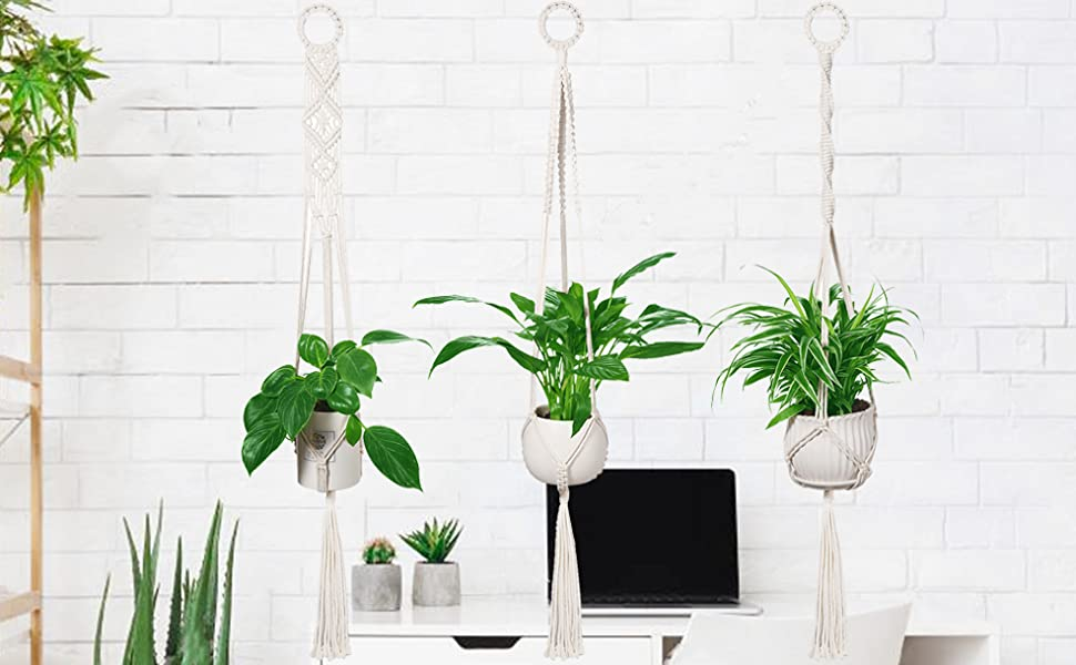 LEEPES 3 Pack Macrame Plant Hangers Hanging Planter