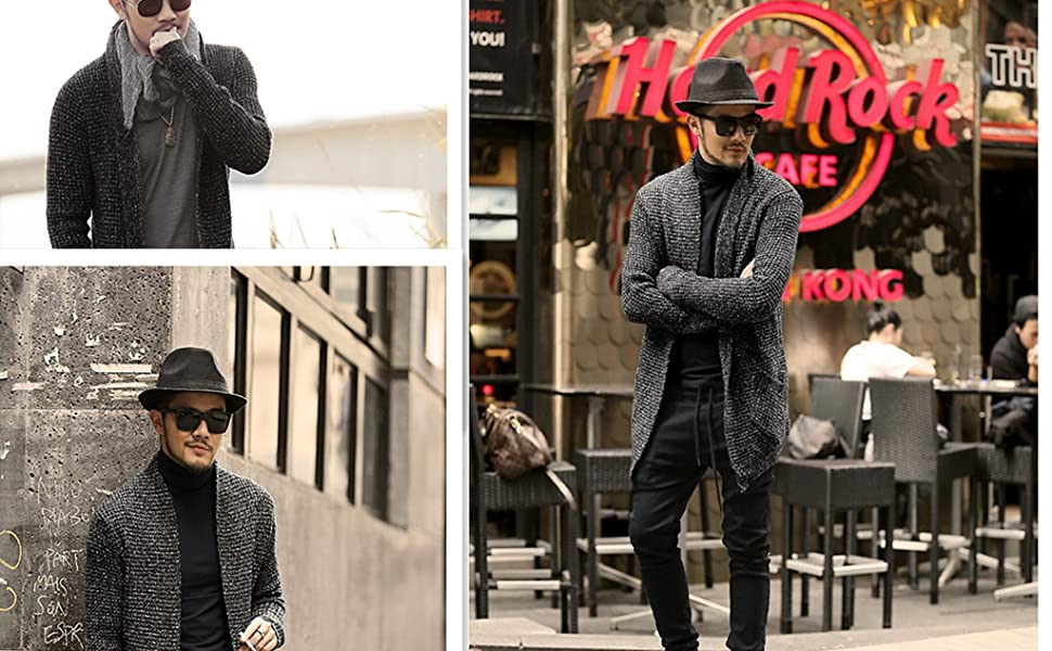 Pengfei Mens Cardigan Sweaters Open Front Knitted Long Sleeve Shawl Collar Coat Cardigans