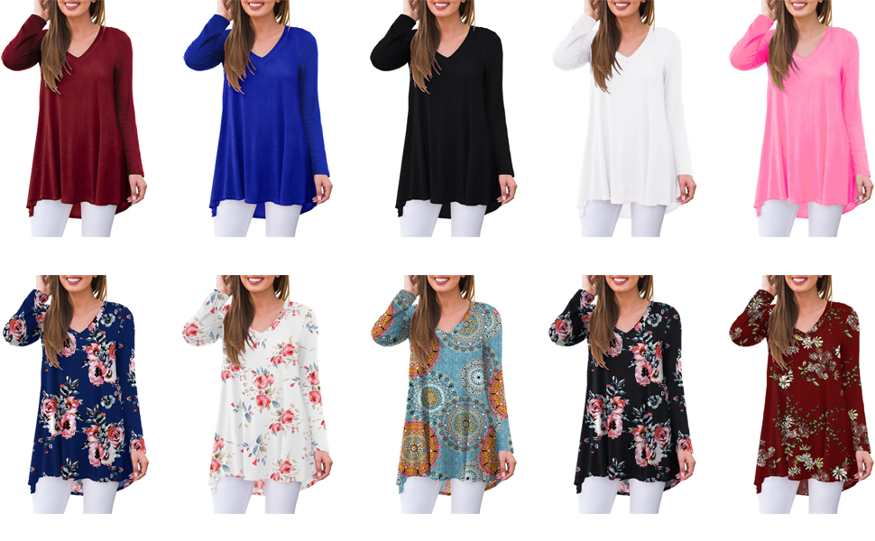 Womens Casual Floral Long Sleeve V Neck T Shirts Blouses Tops