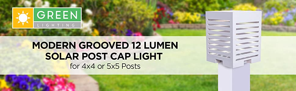 Banner with white post cap light on a white post