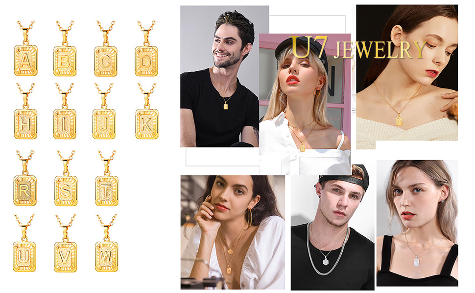 Tiny Initial Necklace, Square Charm Pendant,Layering Monogram Jewelry