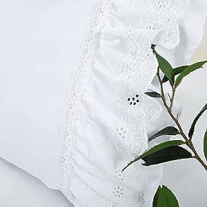 eyelet ruffled pillow shams