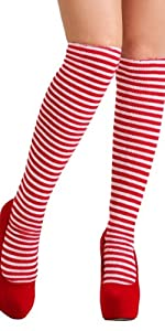 Women's Red and White Witch Socks, Red and White Striped Socks, Knee High Socks