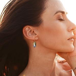 clear white dangle drop earrings women girls best friends sisters jewelry set druzy rhinestone set