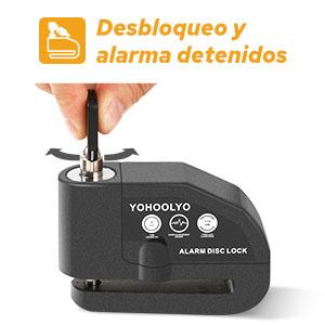 La alarma se puede detener al desbloquear