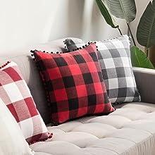 buffalo check pillow classic fall autumn decor Christmas red black