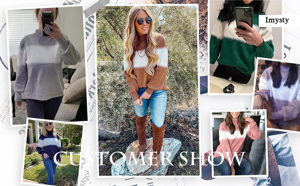 Imysty Womens Turtleneck Sweaters Color Block Lantern Sleeve Knit Jumper