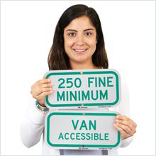 Handicapped and Reserved Parking Sign, Heavy-duty Aluminum Supplemental Signs