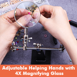 ADJUSTABLE HELPING HAND WITH MAGNIFYING GLASS