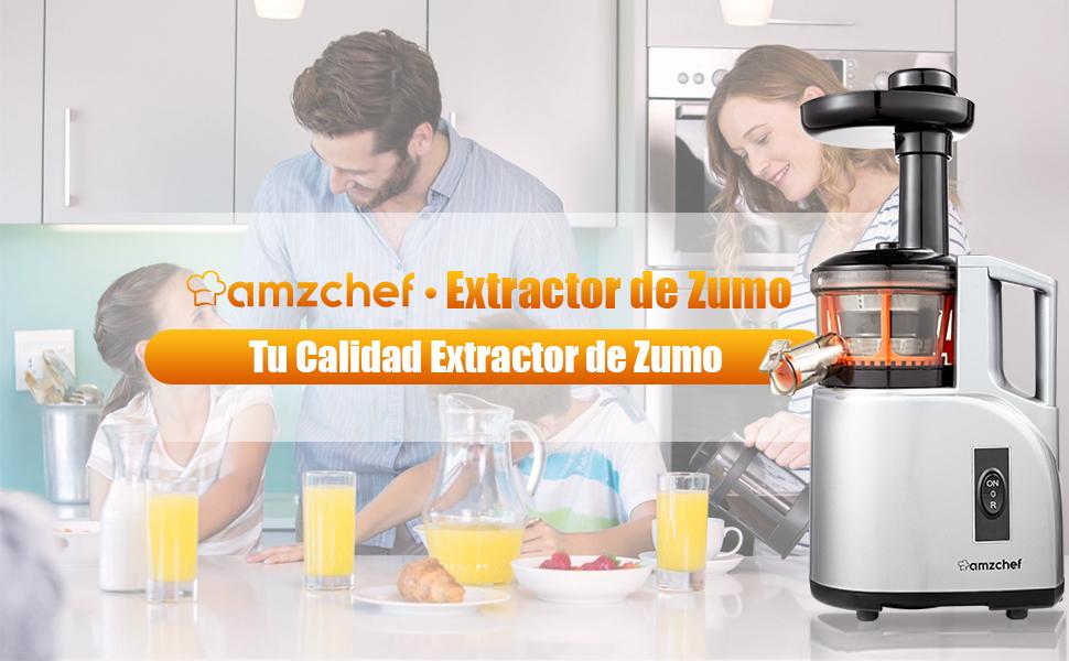 AMZCHEF Extractor de Zumo Licuadora Prensado en Frio Licuadoras ...