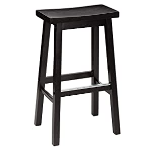 Pj Wood 29 Inch Saddle Seat Bar Stool Black Kitchen Dining