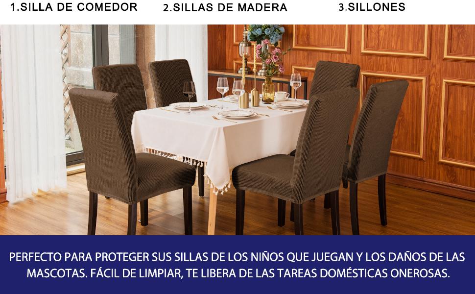 subrtex Funda de Silla Poliéster Elástica Cubierta de Asiento Forro de Silla Doméstico Comedor (Pack de 4, Café)