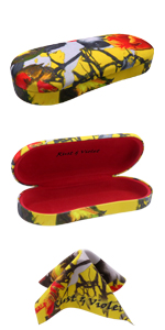 AS166L eyeglas case yellow tulip hard shell metal glasses case microfiber cloth