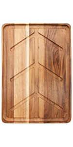 Villa Acacia 24 by 18 Inch Solid Wood Carving and Cutting Board with Juice Well