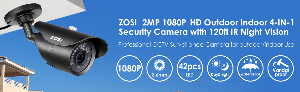 CCTV Surveillance Camera Security 1080p 4in1 HD Outdoor 120FT Night Vision