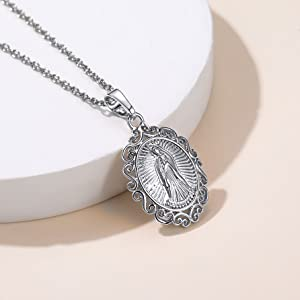 Miraculous Medal Necklace with Filigree Border