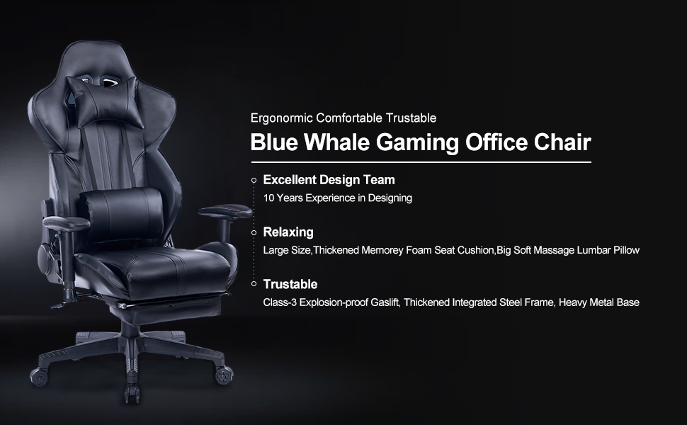 1  Blue Whale Gaming Chair with Adjustable Massage Lumbar Pillow,Retractable Footrest and Headrest -Racing Ergonomic High-Back PU Leather Office Computer Executive Desk Chair (GM039Black-2) 7a925df8 abf2 4e9a 98af a4344292fb3d
