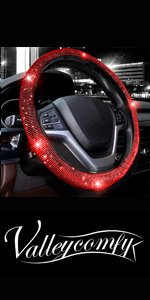 steering wheel cover for women bling diamond crystal rhinestone sparkle glitter black red