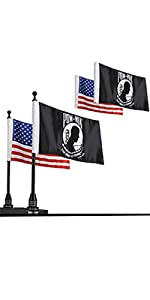 American Flag with Flag Pole Mount