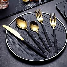 20-Piece Golden Spoon and Black Handle Silverware Set