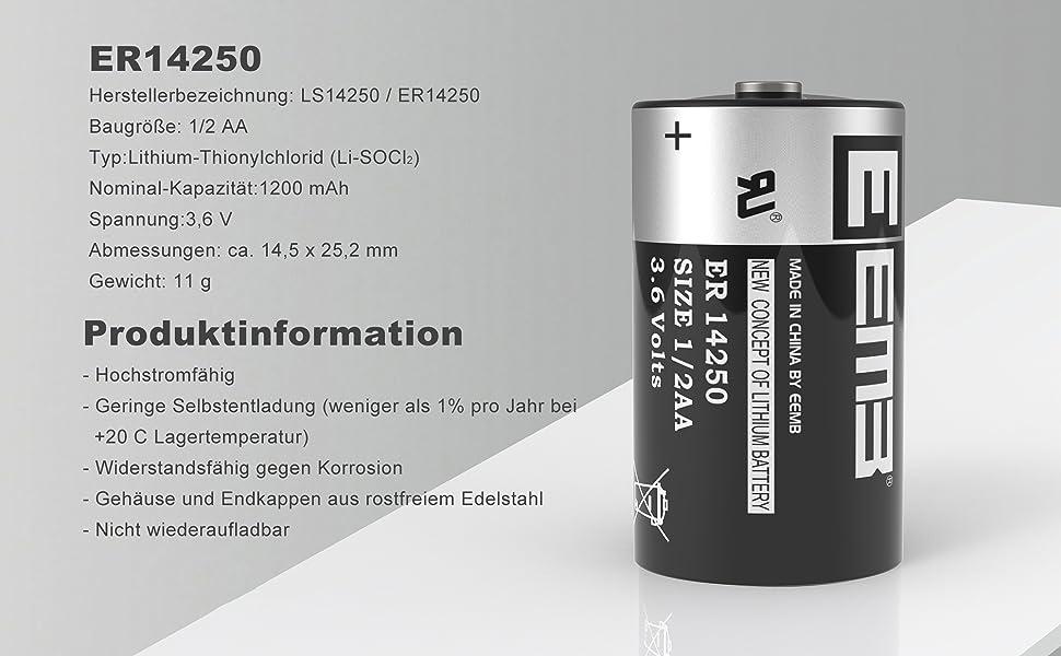 Eemb 1 2 Aa 3 6v Li Socl2 Batteries Er14250 Ls 14250 Elektronik