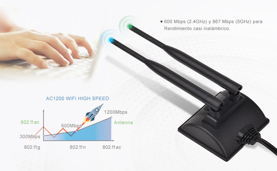 Eightwood Antena WiFi 2.4G/5.8G Antena magnética de Doble frecuencia 6dBi RP-SMA Cable de extensión de 2m Compatible para Tarjeta WiFi WLAN Tarjetas ...