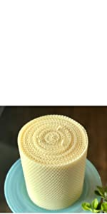 Little Bee of Connecticut 6 Inch by 5 Inch Hand Rolled Triple Wick Beeswax Pillar