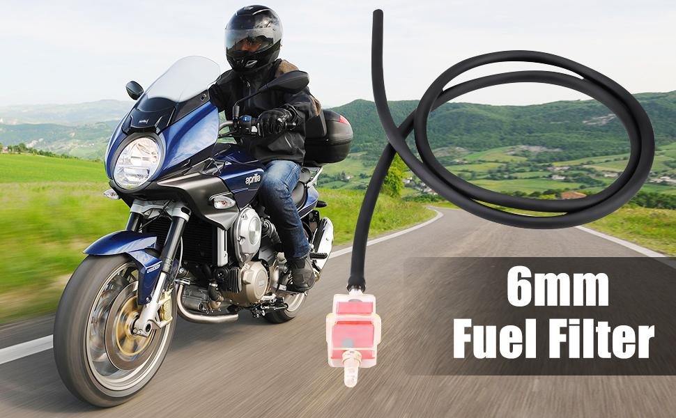 Keenso 6mm 1 4 Zoll Motorrad Kraftstofffilter Schlauch Kit 6mm Motorrad Roller Quadratischer Kraftstofffilterschlauch Mit Klemmen Für Motorräder Roller Rot Auto