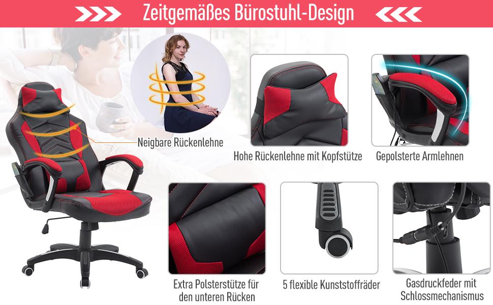 Bürostuhl Drehstuhl Massagesessel Sportsitz mit Wärmefunktion Büro
