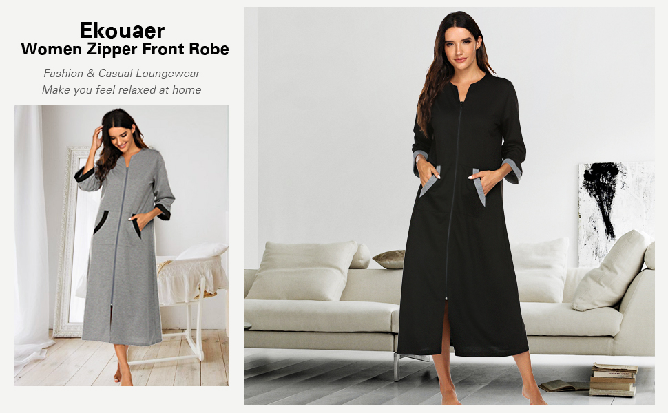 Ekouaer zipper front robe