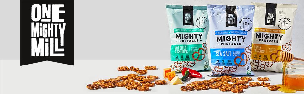 One Mighty Mill - Honey Mustard Pretzels, Sea Salt Pretzels, Hot Chile & Cheddar Pretzels Header