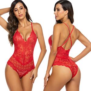 red lingerie bodysuit