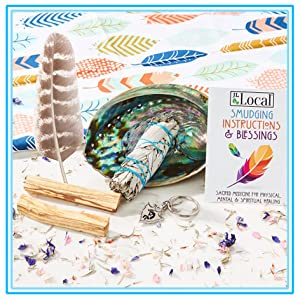 jl local smudging kit turkey feather abalone shell palo santo white sage