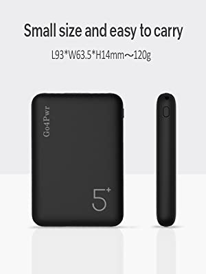 Go4Pwr Pocket Size Portable Phone Charger with 2 Output and 2 Input Ports Mini Power Bank 5000mAh Portable Charger with Black Lanyard Compatible with ...