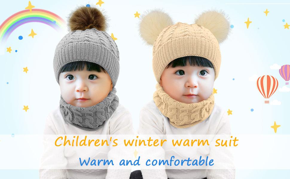 Tuopuda/® Chapeau Bonnet Enfant Hiver B/éb/é Fille gar/çon Ensemble Bonnet Echarpe Chaudes Bonnet tricot/é