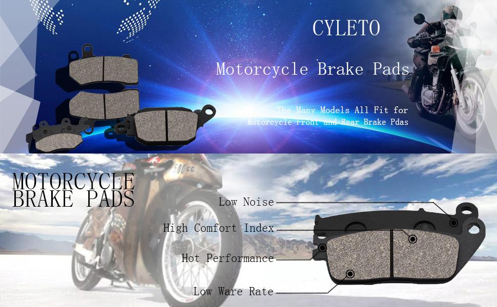 Front and Rear Brake Pads for Yamaha Raptor 350 YFM350 2004-2013