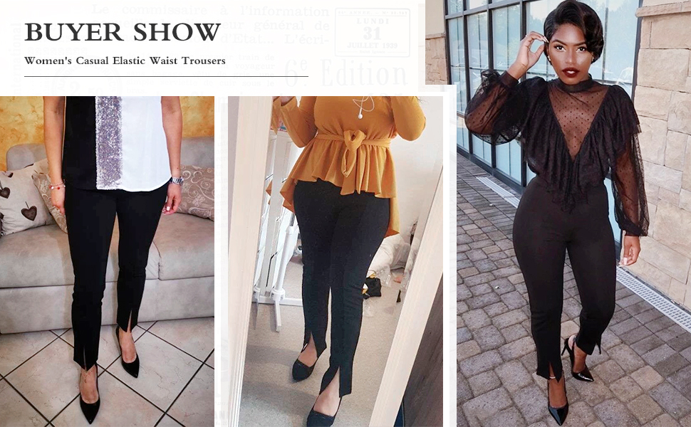 Women's Casual Elastic Waist Trousers