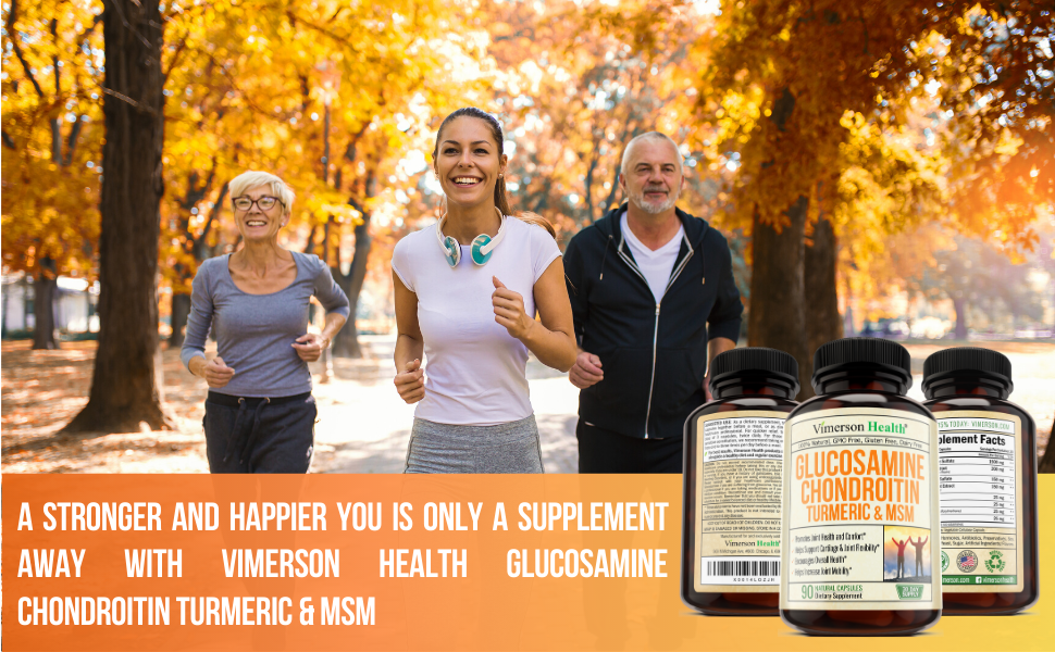 Glucosamine Chondroitin MSM Turmeric Health Joints Knees Man Woman Jogging