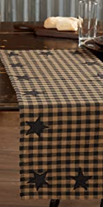 Black Star Kitchen Tabletop Runner primitive country rustic Americana VHC Brands placemat check star